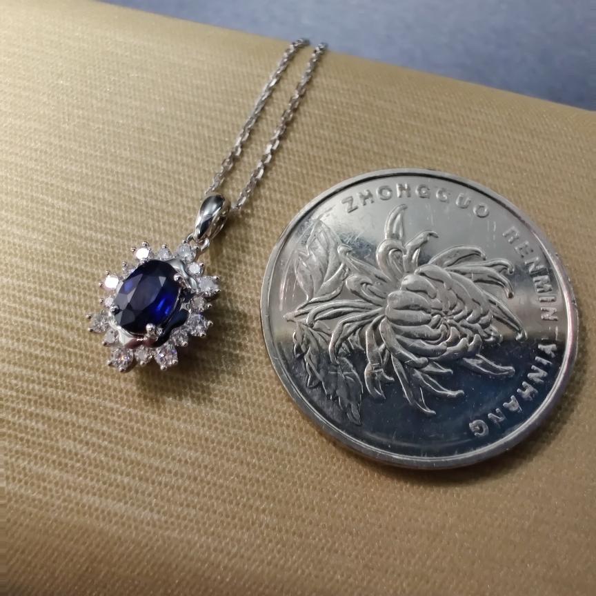 【【吊坠】18k金+蓝宝石+钻石 (不含链子)宝石颜色纯正 主石:0.63ct  货重:1.58g##**】图5