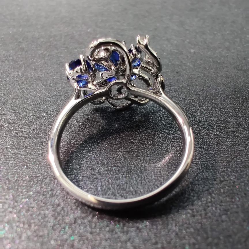 【【戒指】18k金+蓝宝石+钻石 宝石颜色纯正 切工精细 主石:1.12ct/7p  货重:3.44g##**】图4