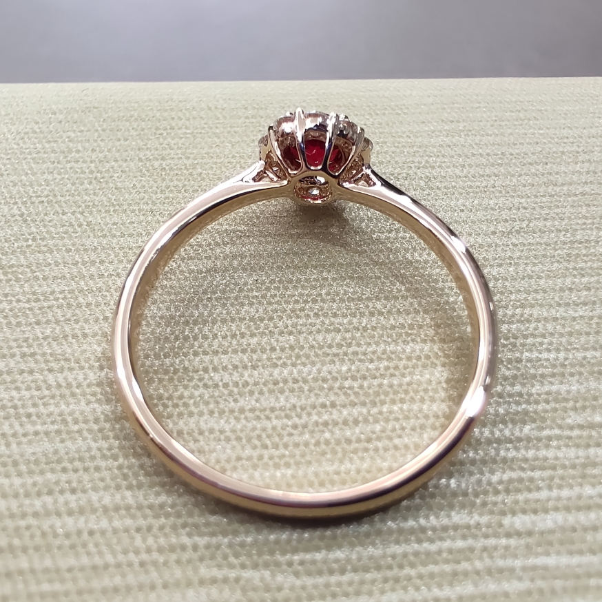 【【戒指】18k金+红宝石+钻石 宝石颜色纯正 切工精细 主石:0.29ct  货重:1.88g##**】图4