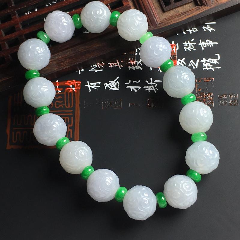 糯种仿古佛珠手串 直径12.6毫米  玉质细腻 佩戴效果佳