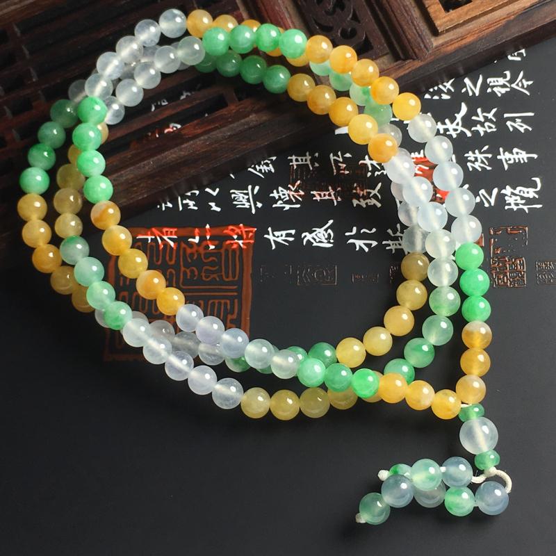 冰种三彩佛珠项链 直径5.5毫米种好通透 色彩艳丽 佩戴精美