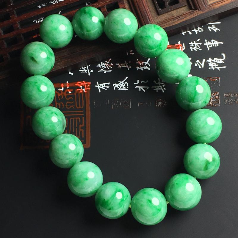 糯种带色佛珠手串 佛珠直径14毫米 玉质水润 色彩亮丽