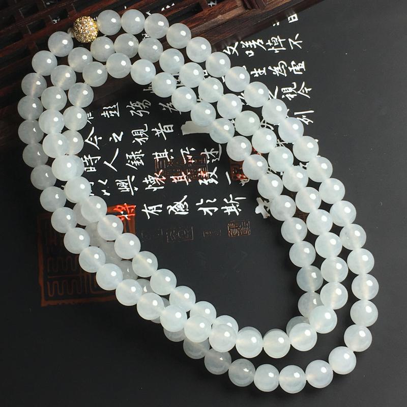冰糯种佛珠项链 108颗 佛珠直径7.5毫米 水润通透