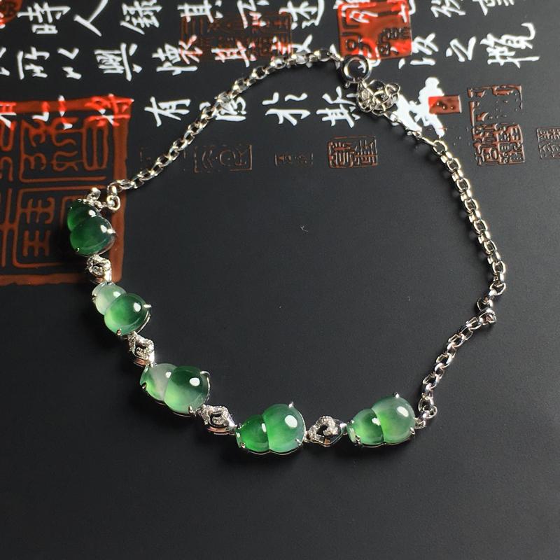 冰种飘绿葫芦手链 18K真金带钻镶嵌 裸石尺寸8-6-2.8毫米  种好冰透 花色艳丽 款式精美