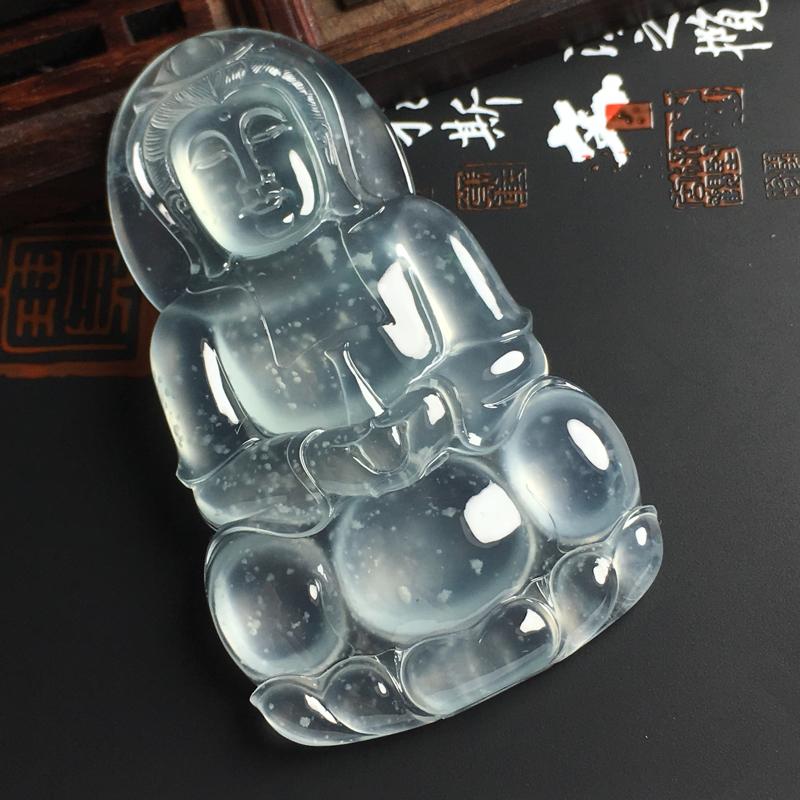 高冰种雪花棉观音吊坠 尺寸65-38-7毫米 种好起光 晶莹冰透  端庄大气