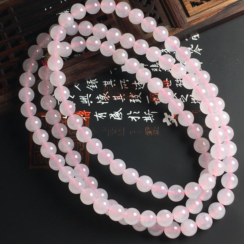 冰糯种粉春佛珠项链 佛珠尺寸7毫米 水润通透 色彩亮丽