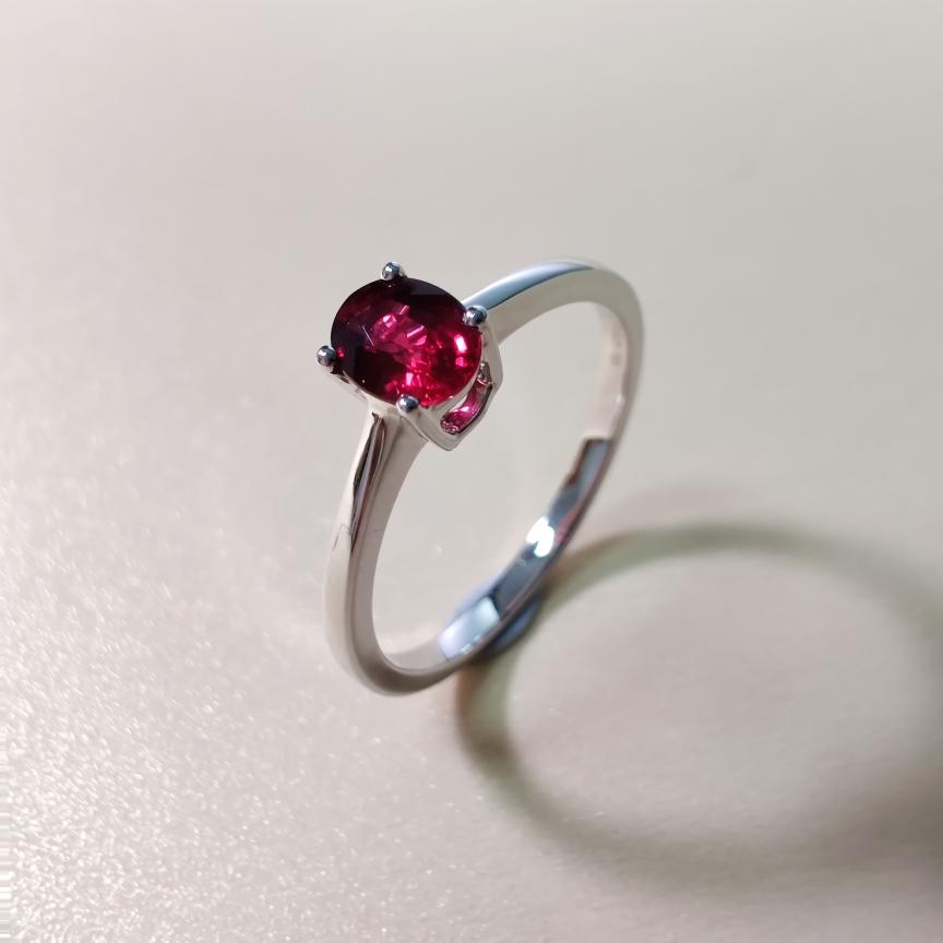 【戒指】18k金+无烧红宝石