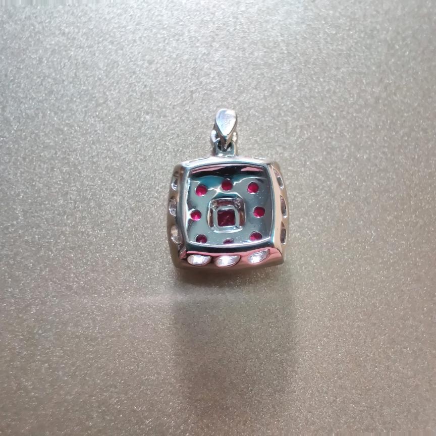 【【吊坠】18k金+红宝石+钻石(不含链子)宝石色泽艳丽  主石:0.11ct/1p+0.44ct/8p  货重:2.24g##**】图4