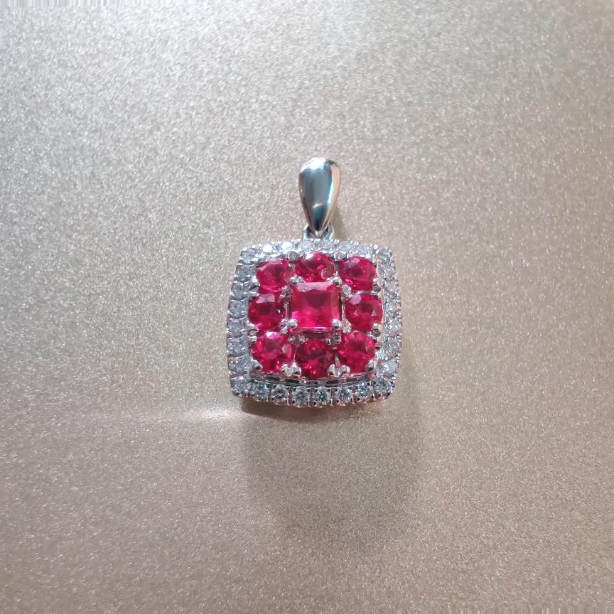 【【吊坠】18k金+红宝石+钻石(不含链子)宝石色泽艳丽  主石:0.11ct/1p+0.44ct/8p  货重:2.24g##**】图2