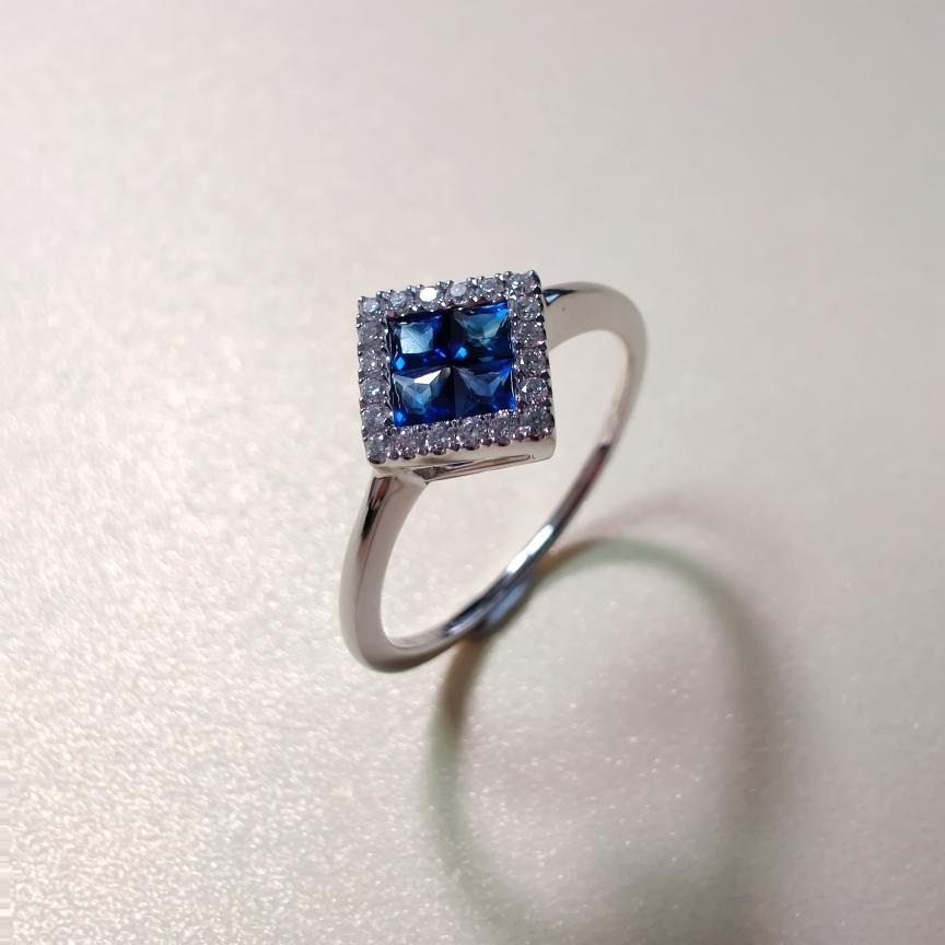 【戒指】18k金+蓝宝石+钻石 宝石颜色纯正 晶体干净 主石:0.35ct/4p  货重:1.88g