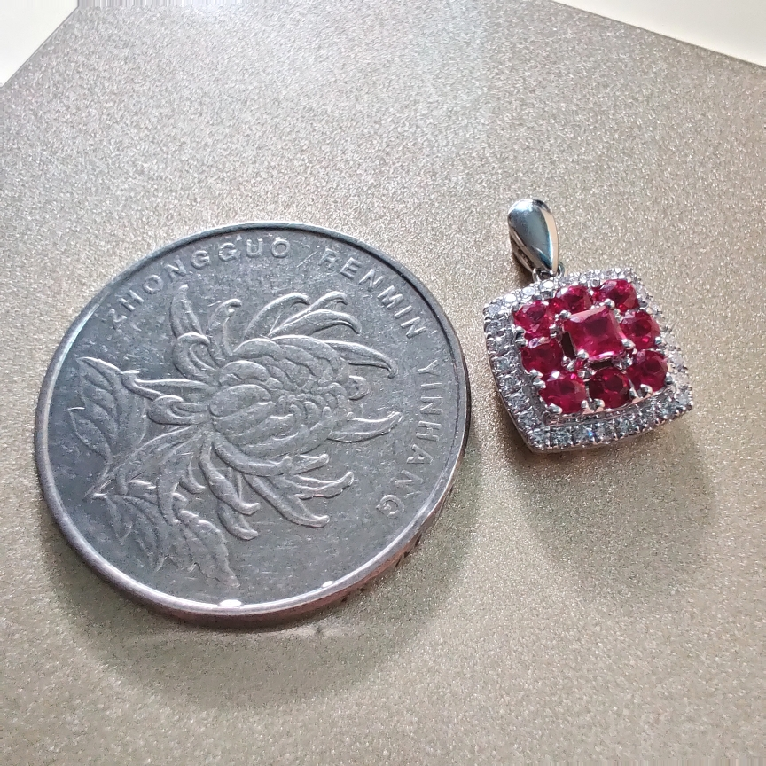 【【吊坠】18k金+红宝石+钻石(不含链子)宝石色泽艳丽  主石:0.11ct/1p+0.44ct/8p  货重:2.24g##**】图5