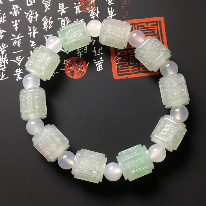 冰糯种晴绿六字真言路路通手串 10颗 尺寸13.5-12毫米 水润冰透 底色清爽 隔珠属配饰品