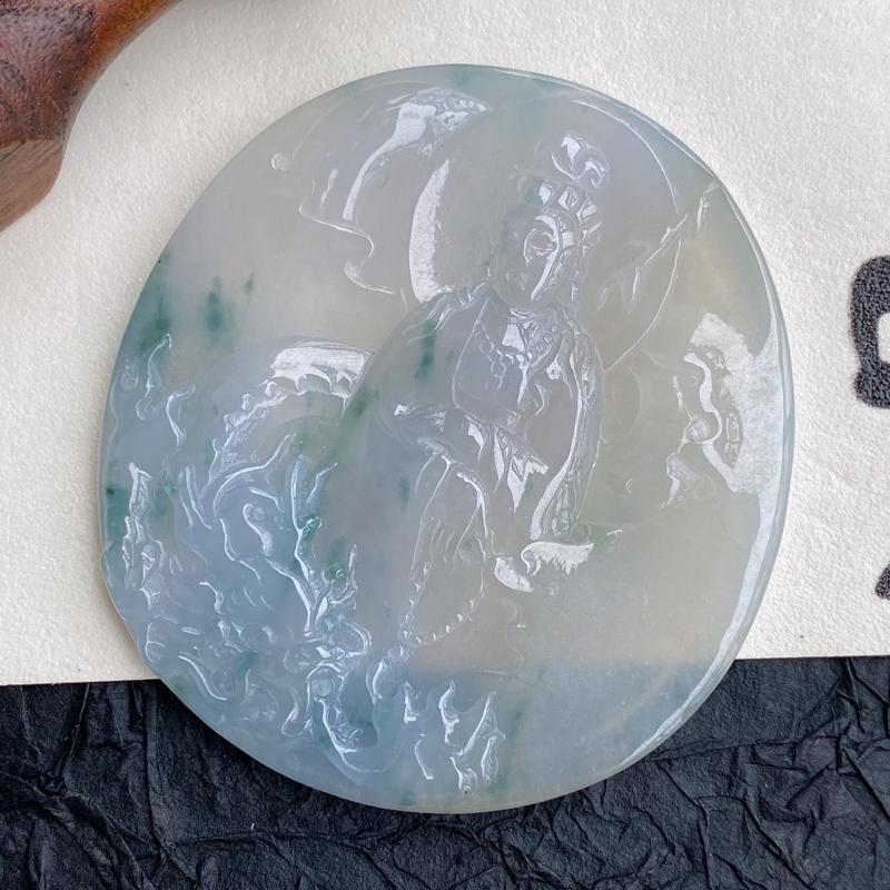 天然翡翠A货紫罗兰飘花龙头观音吊坠,尺寸:58/53/6.2mm