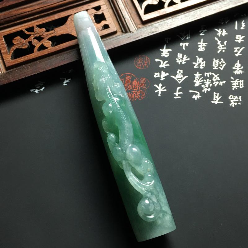 细糯种深晴底生意兴隆烟嘴 尺寸92-20-15毫米 玉质水润 色彩艳丽 雕工精细