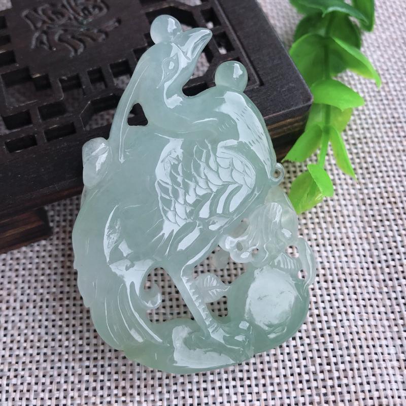 翡翠水润立体精雕一鹭高生玉坠,也可做小摆件,种水好,雕工精美,尺寸60*41*9.7mm
