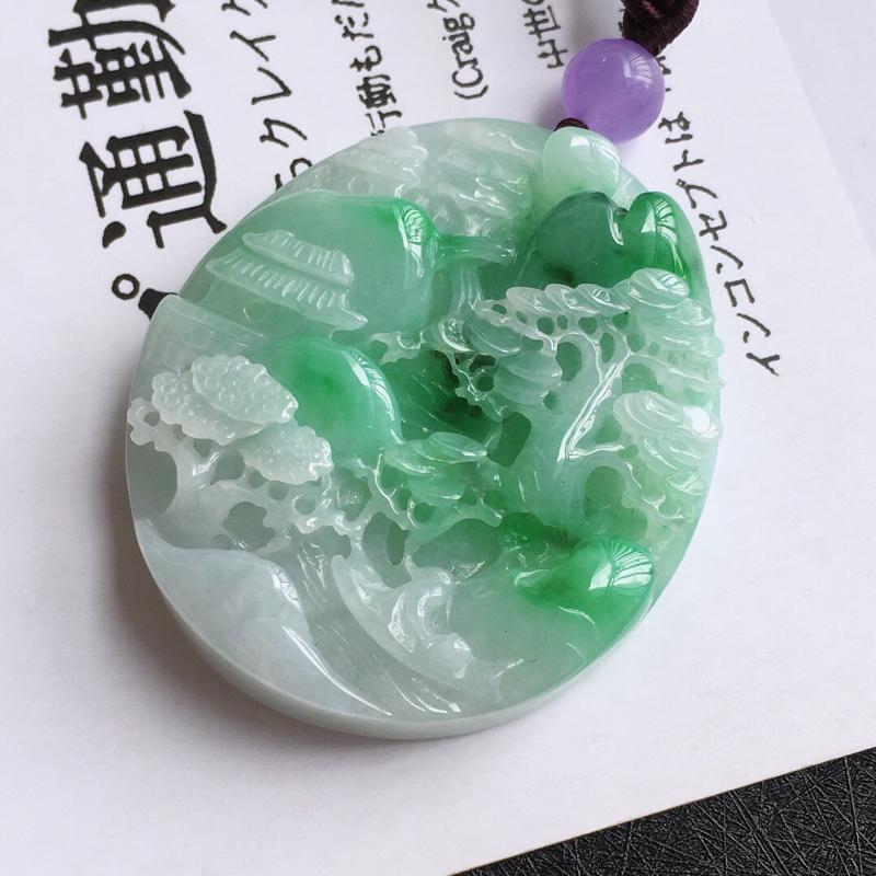山水牌吊坠/天然翡翠A货,尺寸:50.8/43.2/10.7mm,顶珠是装饰品