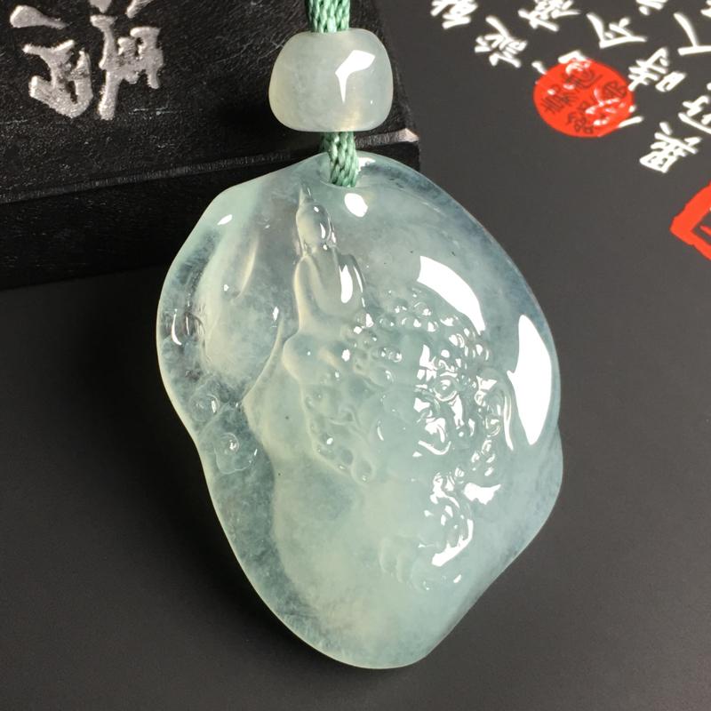 冰种晴水【文殊菩萨】吊坠 水润通透 质地细腻 雕工精湛