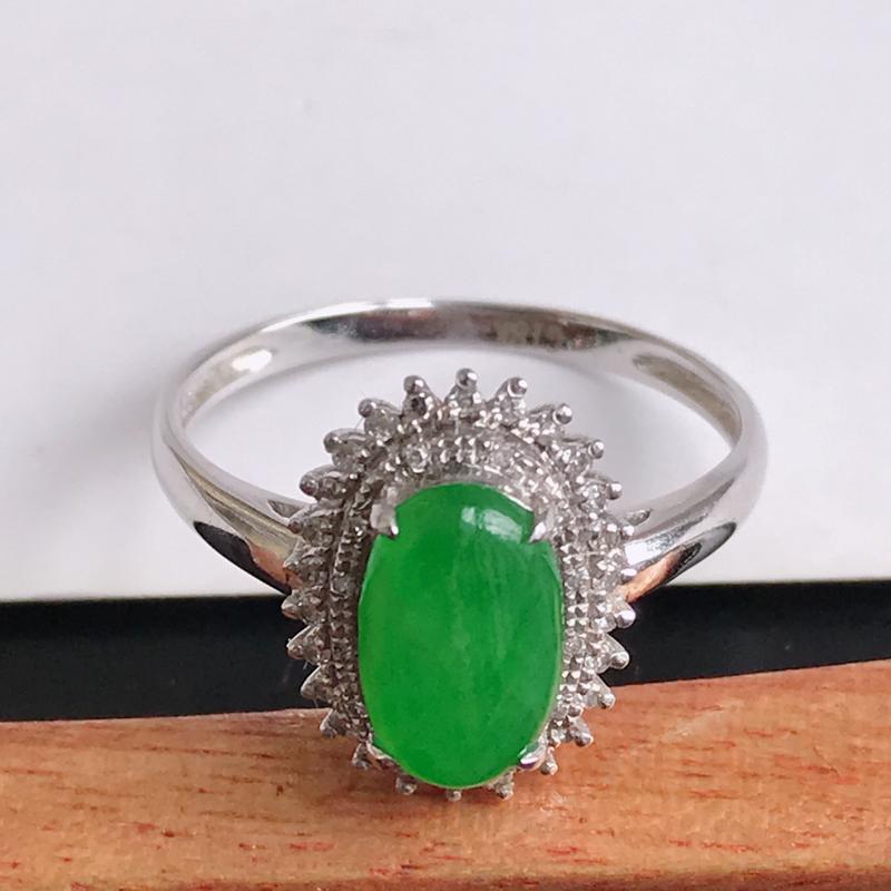 缅甸天然翡翠A货镶嵌18k金伴钻 满绿福气戒指,裸石尺寸9*5.6*3mm,指圈17.5mm