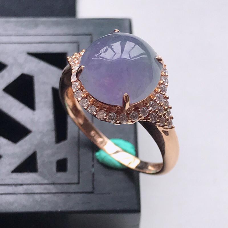 天然翡翠A货18K金镶嵌伴钻糯化种紫罗兰精美蛋面戒指,内径尺寸18.5mm,裸石尺寸10.6-3.3
