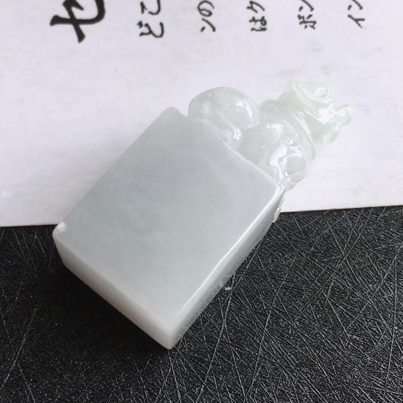 种水好招财小狗印章/天然翡翠A货,尺寸:41.2/18.5/13.8mm