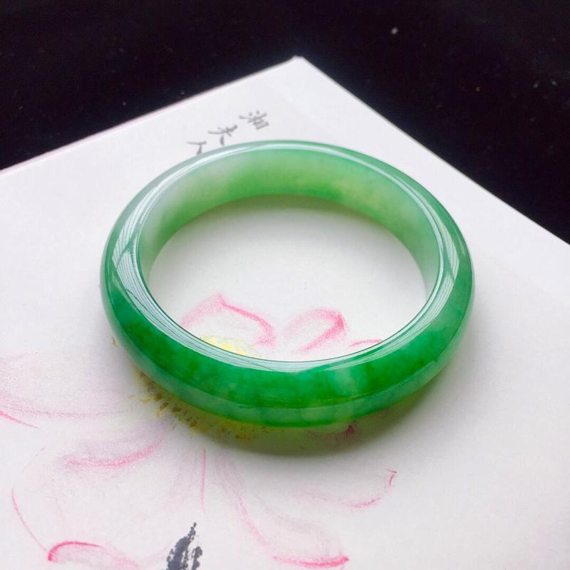 【【原价28.3万元】*正圈55.2mm,细糯阳绿手镯,底子细腻,近满圈阳绿,青翠苍绿】图2