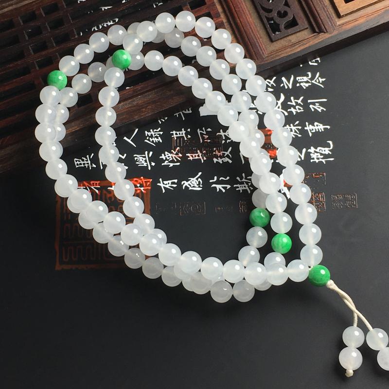 冰糯种佛珠项链 佛珠直径6毫米 水润通透 款式精美