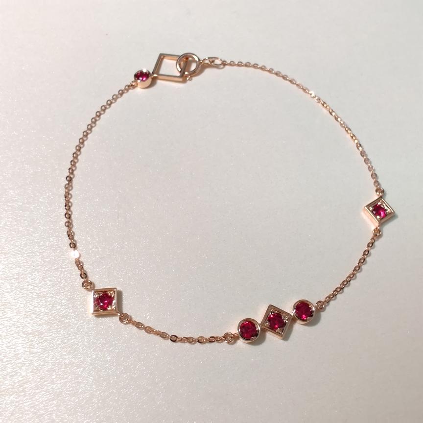 【手链】18k金+红宝石