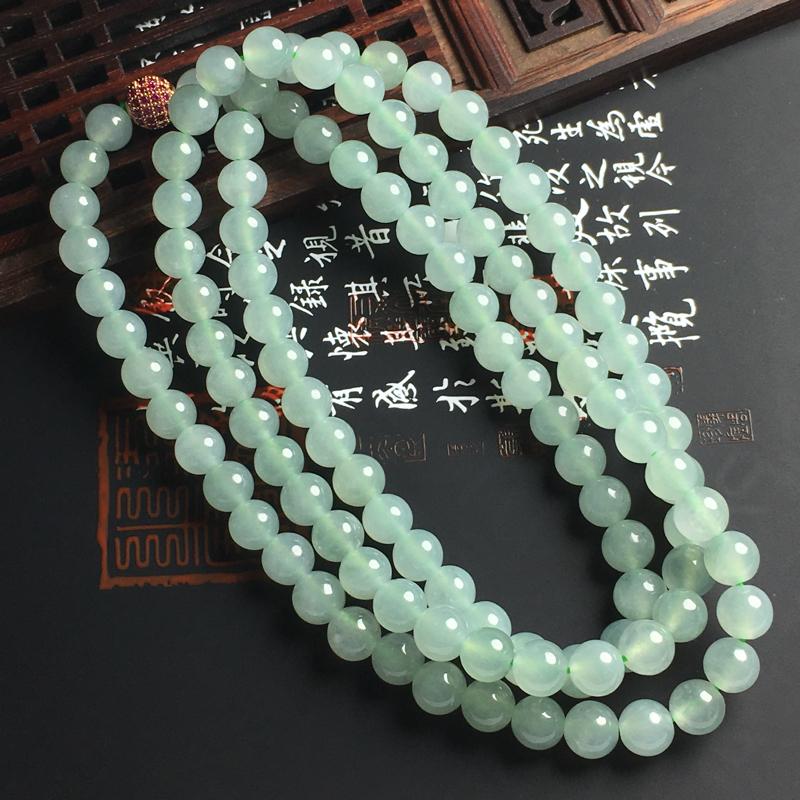 冰糯种晴底佛珠项链 佛珠直径7毫米 水润通透 底色亮丽