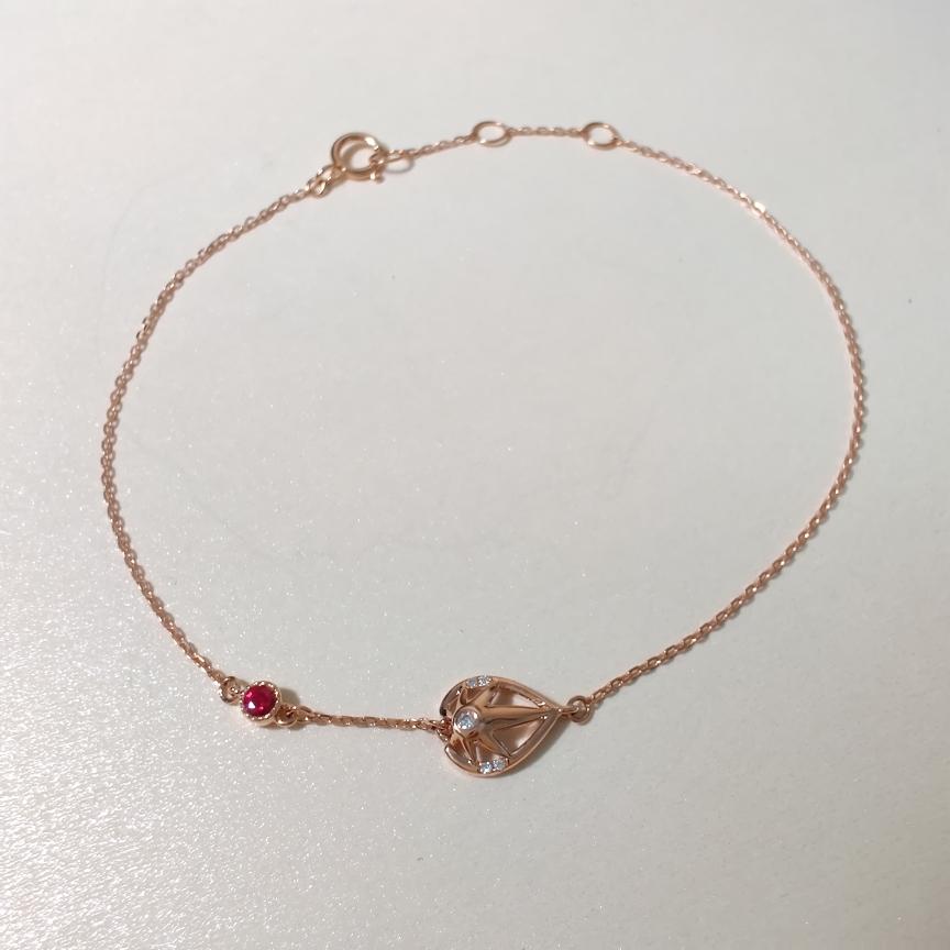 【手链】18k金+红宝石+钻石  宝石颜色纯正 货重:1.01g  主石:0.05ct