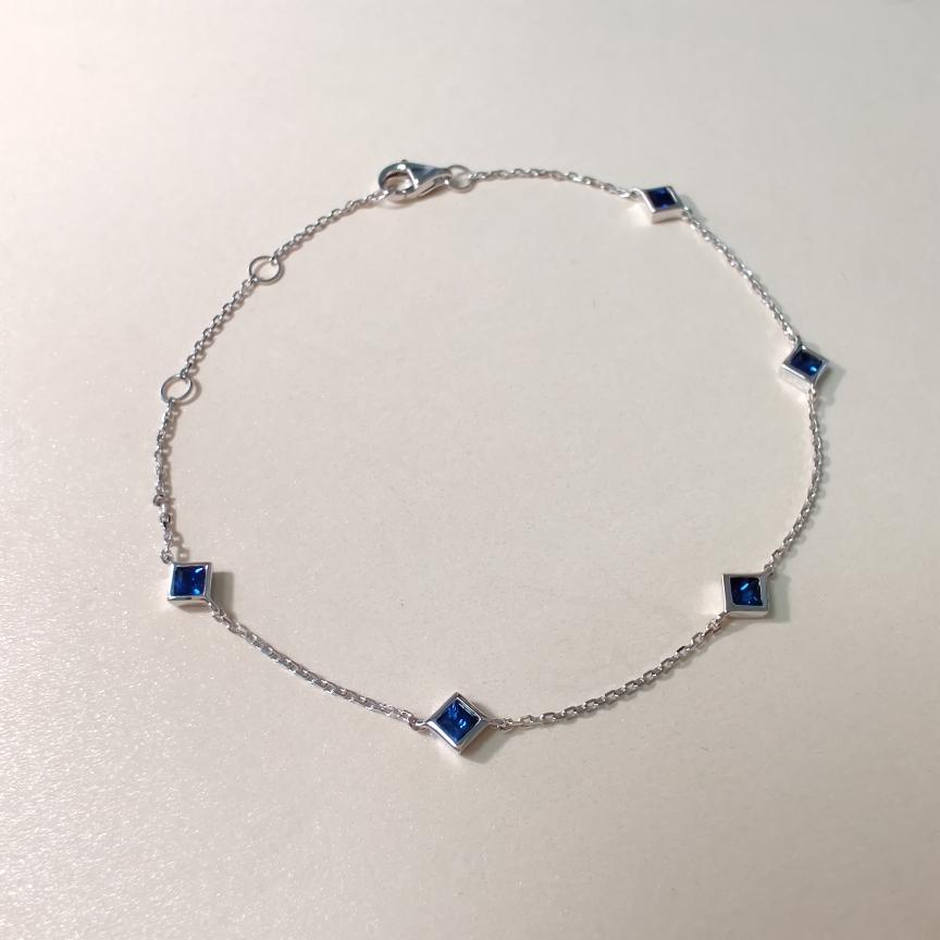 【手链】18k金+蓝宝石  宝石颜色纯正 货重:1.91g  主石:0.55ct/5p##**