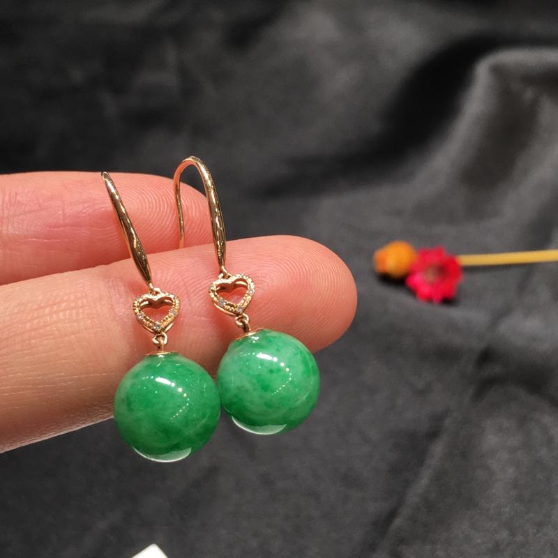 -一对浅绿圆珠耳坠,底庄细腻,18K玫瑰金南非真钻镶嵌,有微纹可忽略,性价比高,推荐,尺寸29/10