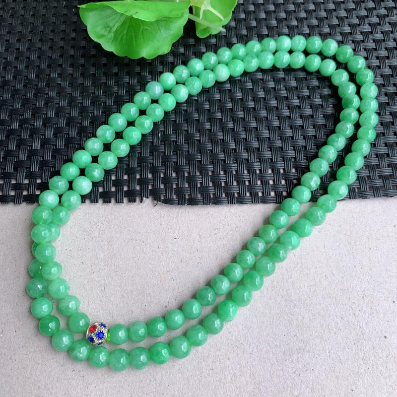 尺寸:108颗6.6mm,天然A货翡翠满绿圆珠项链、质地均匀细腻,0326