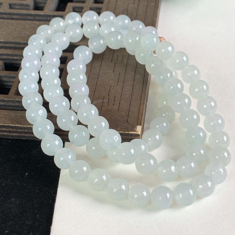 天然A货翡翠_水润翡翠圆珠项链8.3mm,尺寸8.3mm,料子细腻,色彩迷人,底子干净清爽,雕工精细