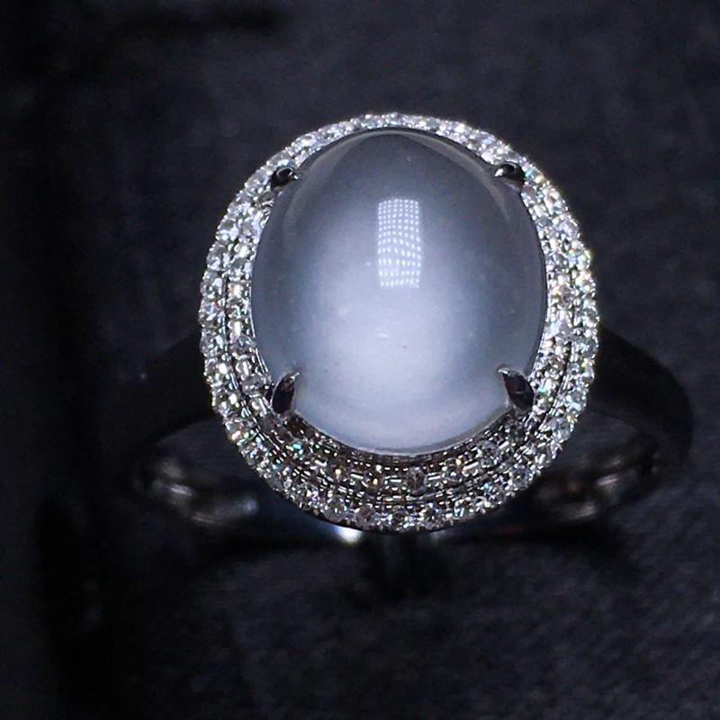 高冰种蛋面戒指 饱满水润 冰纯透明 18k金钻镶嵌 上手清新 圈口13.5 整体12.8*11.4*