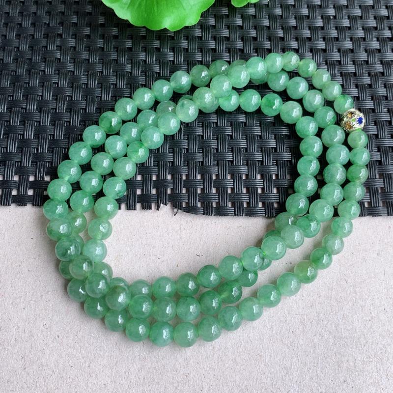 尺寸:108颗6.8mm,重量:51.05克,天然A货翡翠冰润满绿圆珠项链、质地均匀细腻,0326