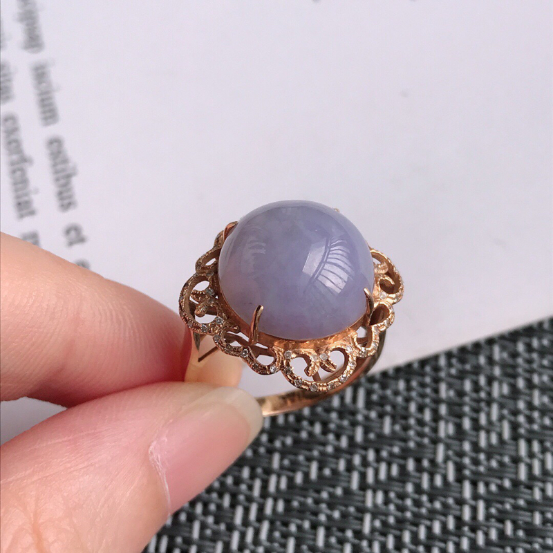 紫罗兰18k金伴钻花开富贵戒指天然翡翠A货,包金尺寸:20/19.7/10.4mm,裸石尺寸:13.