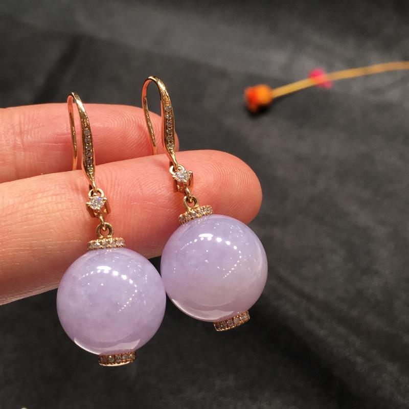 一对紫罗兰耳坠,紫气东来,完美,底庄细腻,18K玫瑰金南非真钻镶嵌,性价比高,推荐,尺寸37*14m