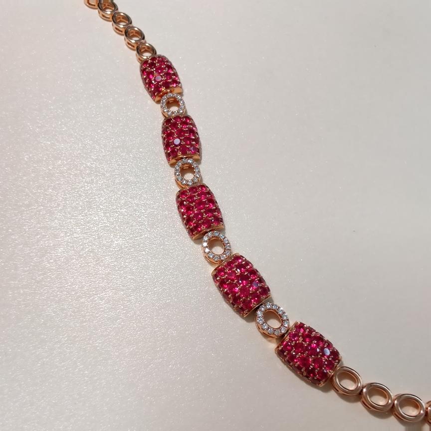 【手链】18k金+红宝石+钻石