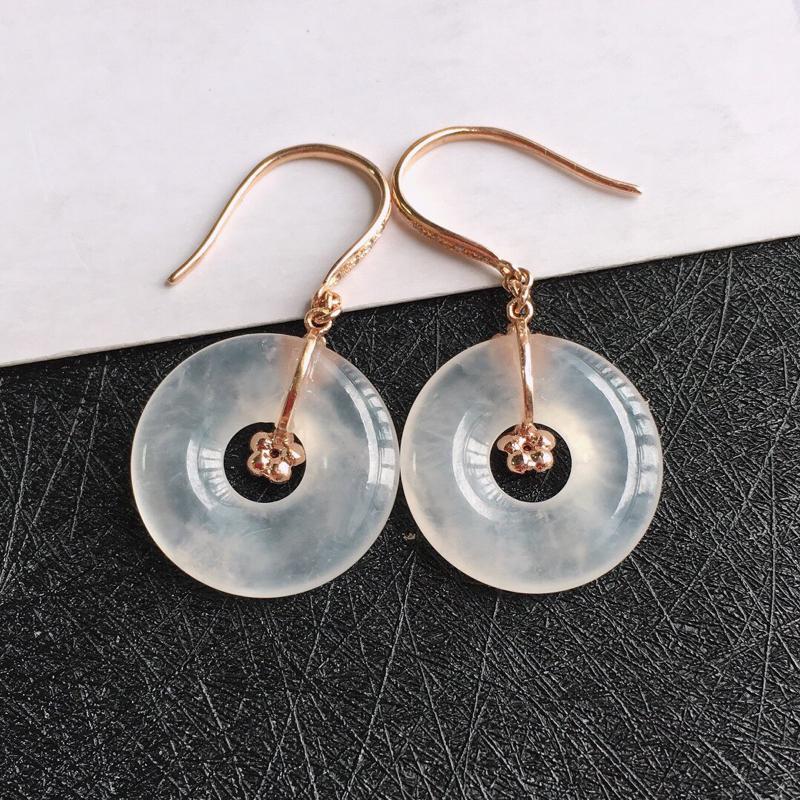 18k金伴钻平安环耳环,天然翡翠A货,包金长尺寸:31.2mm,裸石尺寸:16/3mm