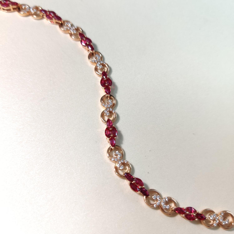 【手链】18k金+红宝石+钻石  宝石颜色纯正 货重:10.55g  主石:2.19ct/28p##