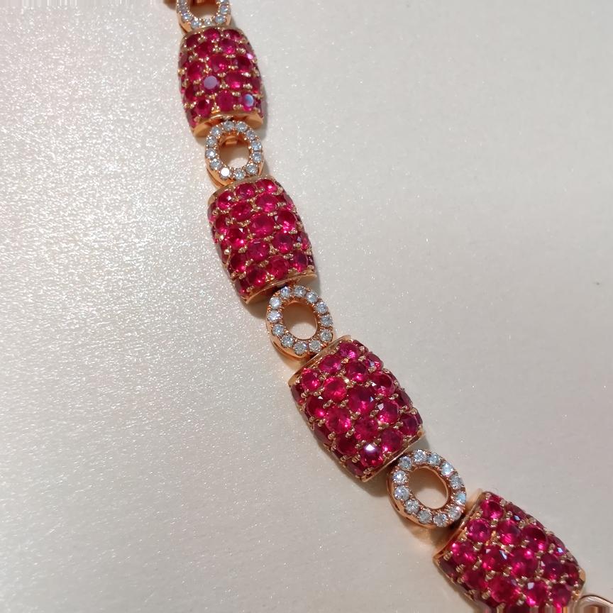 【【手链】18k金+红宝石+钻石  宝石颜色纯正 货重:12.21g  主石:3.95ct/135p##**】图3