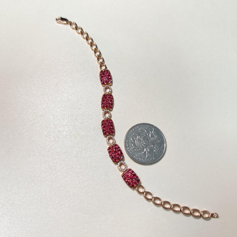 【【手链】18k金+红宝石+钻石  宝石颜色纯正 货重:12.21g  主石:3.95ct/135p##**】图7