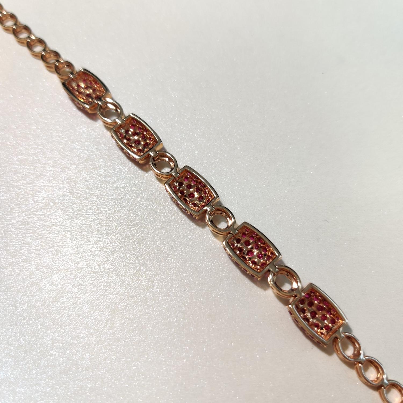 【【手链】18k金+红宝石+钻石  宝石颜色纯正 货重:12.21g  主石:3.95ct/135p##**】图6