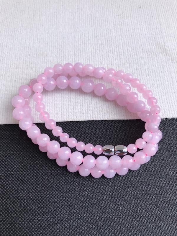 缅甸天然老坑翡翠A货紫罗兰福气手串,珠子直径尺寸6.3,料子细腻,隔珠为装饰品