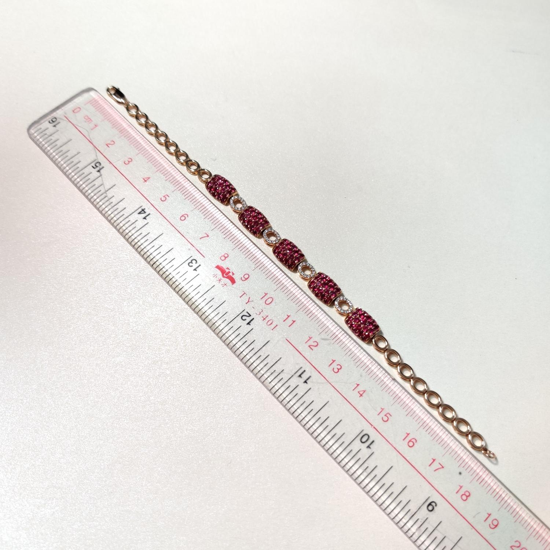 【【手链】18k金+红宝石+钻石  宝石颜色纯正 货重:12.21g  主石:3.95ct/135p##**】图8