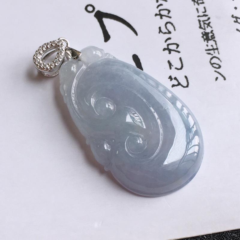 紫罗兰吉祥如意吊坠,天然翡翠A货,尺寸:33.2/21/5.5mm,扣头是装饰品
