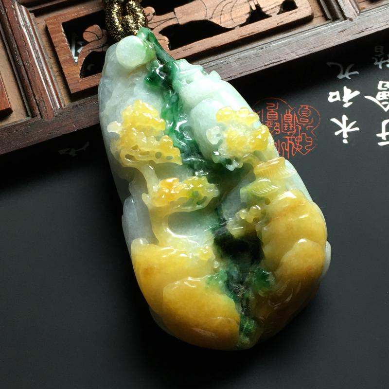 糯种黄加绿淡泊名利吊坠 尺寸58.5-33-12毫米 色彩艳丽 雕工精细