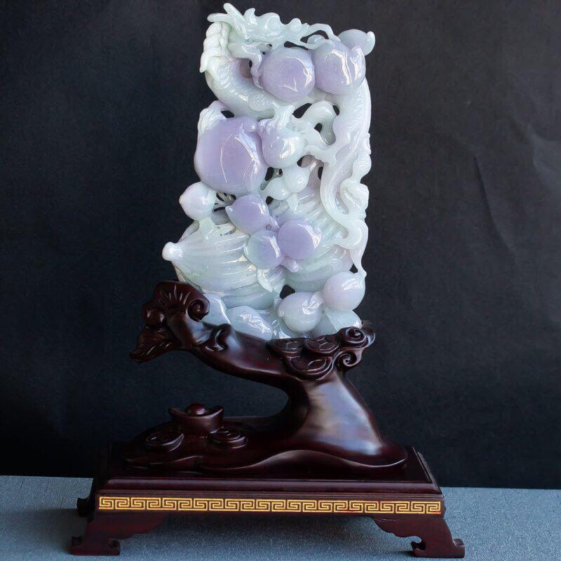 翡翠飘紫罗兰生意兴隆摆件,玉质细腻,色泽佳,种水好,雕工精湛,线条流畅优美,整体尺寸320*220*