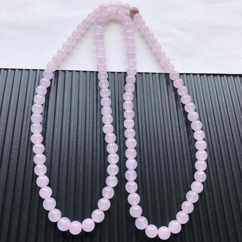 天然翡翠A货冰糯种淡紫精美圆珠项链,尺寸7mm,玉质细腻,种水好 上身效果漂亮