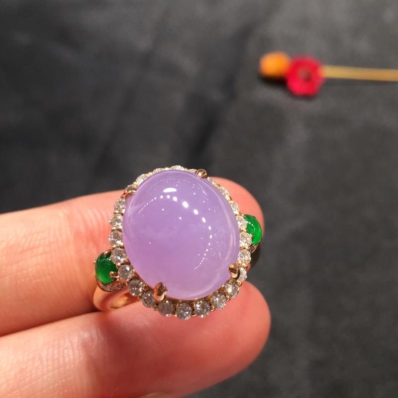 紫罗兰戒指,紫气东来,完美,18K玫瑰南非真钻镶嵌,饱满细腻,性价比高,推荐,尺寸16.8*14.3